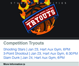 Slam Dunk Tryout to take place January 23 at 6 p.m. and 6:30 p.m. and January 24 at 6 p.m. in the Hart Aux Gym