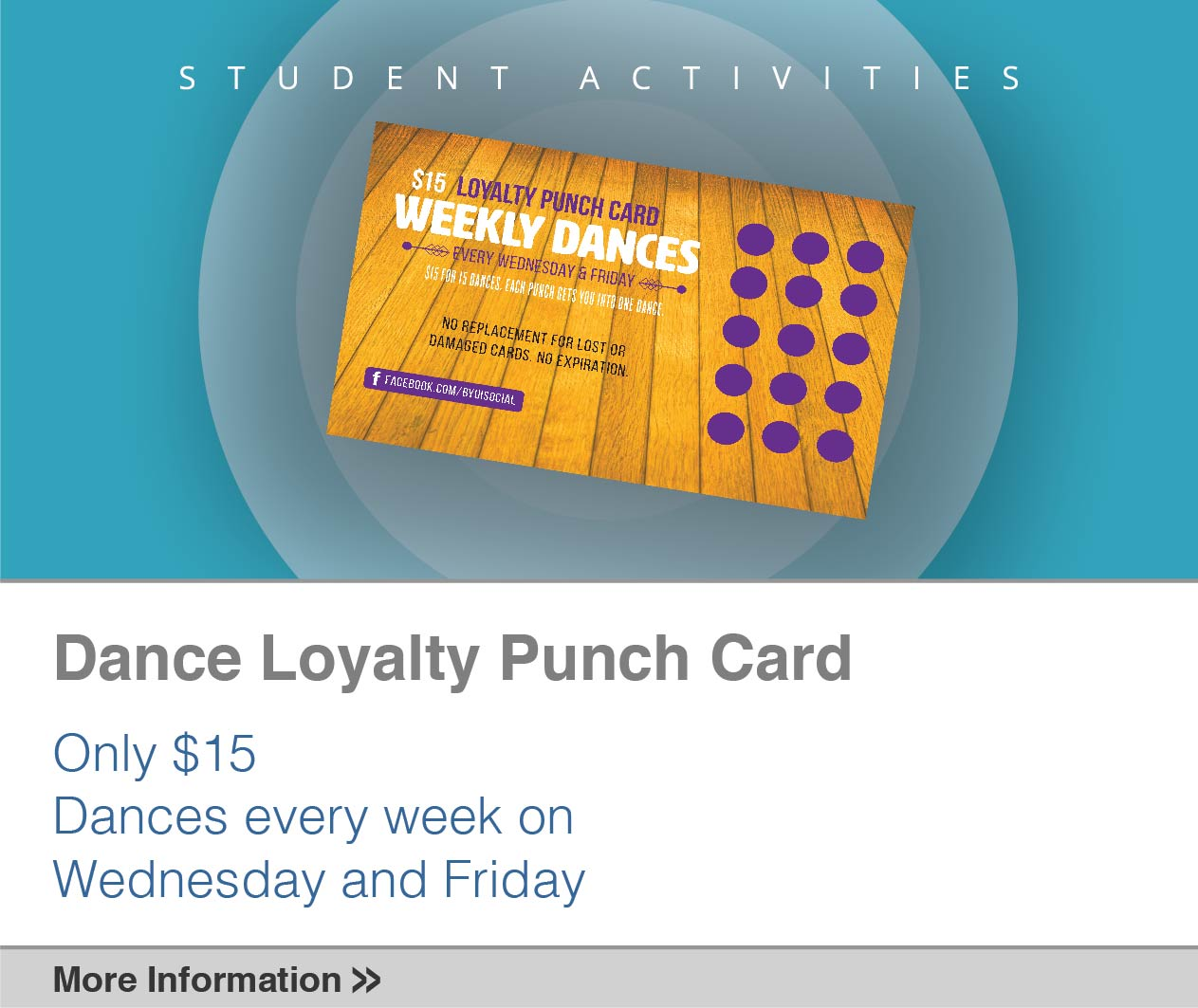 Dance Loyalty Punch Card. Only $15. Dances every week on Wednesday and Friday.